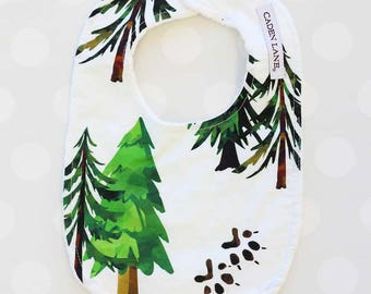 Woodland Trees Minky Baby Bib  | Watercolor Forrest Trees Baby Gender Neutral Gift | Woodland Newborn Bib