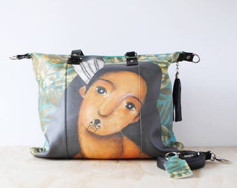 Shoulder Shopping Bag, 'Wahine' by ChiarArtIllustration