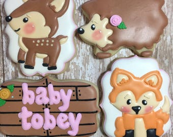Woodland Animals Baby Shower Cookies, Party Favors, One Dozen