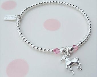 Horse Bracelet, Sterling Silver Horse Bracelet, Silver Horse Bracelet, Gift for Her, Gift Ideas, Horse Charm, Horse Jewelry, Horse Jewellery
