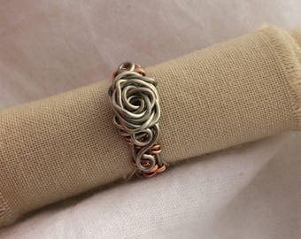 Silver and Copper Wire Rose Ring