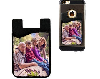 Cell Phone Card Holder Caddy, Your Custom Family Photo Phone Wallet - Custom Design Gifts - ID Credit Card iPhone