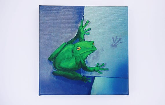 Sale picture frog in green-acrylic art print on canvas 20 x 20 cm Print wall decoration art Frechdachsfrosch-Nursery picture-B-ware