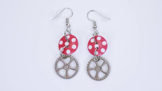 Earrings wheels with white dots in red wooden knob on silver earrings earrings jewelry pendant earrings Steampunk gear Retro