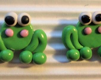 beautiful earrings frogs cute fimo clay miniatures