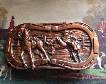 Mid-Century Western Rodeo Cowboy Copper Belt Buckle Steer Wrestling Horseshoe Border Signed Leavens Manufacturing Inc. Patented