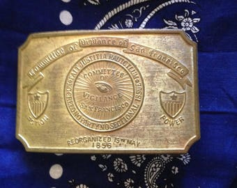 "Collectible ""Fake"" Tiffany Advertising Brass Belt Buckle Created Mid-Century (1960s) Committee Vigilance San Francisco Reorganized 1856"
