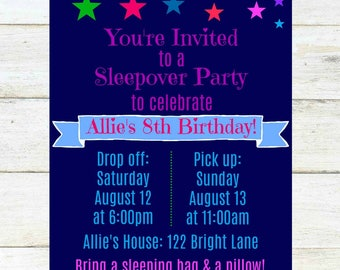 Star Sleepover Party Invitation, 4x6, Printable, Digital Download, Customized