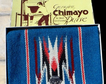 REDUCED - Genuine CHIMAYO all wool hand loomed blue blanket purse in its original box, RARE condition