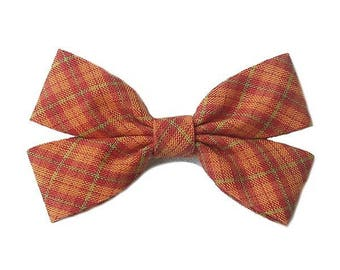 Cotton Orange Retro Tartan Plaid ribbon bow brooch.