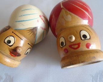 wooden salt and pepper shakers hand painted turbans
