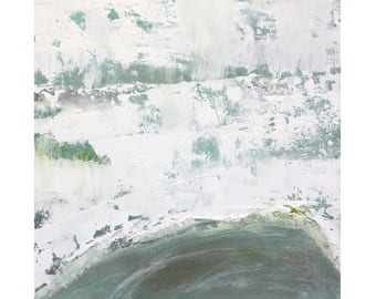 Beach Decor Original Abstract Oil Painting contemporary 12 x 12 square art Dallas artist Paul Ashby