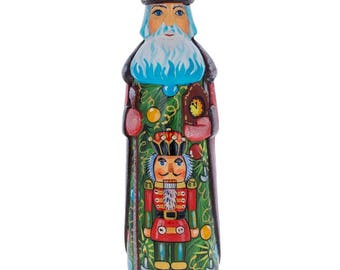 "7.25"" Nutcracker on Christmas Tree Hand Carved Wooden Santa Figurine"