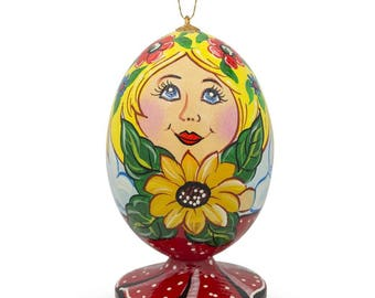 """3.5"""" Russian Nesting Doll Matryoshka with Sunflower Wooden Christmas Ornament"""