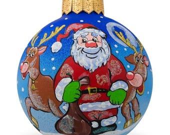 """3.25"""" Santa and Reindeer Glass Ball Christmas Ornament"""