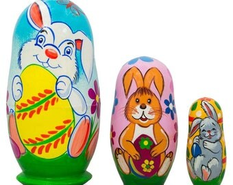 "4.25"" Set of 3 Bunnies and Easter Eggs Wooden Nesting Dolls"