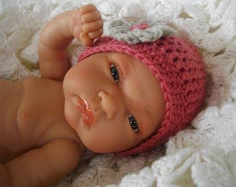the old pink color handmade crochet baby hat and its perfect flower wedding, ceremony, parties, hair accessory