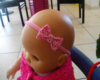 Baby girl Pink/White bow headband/headband