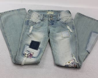 Upcycled Womens Light Wash Denim Patched Flare Jeans Size 00