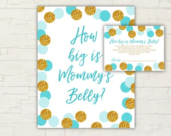 Blue and Gold Baby Shower - How Big Is Mommy's Belly - Game - Sign - Cards - Printable - Instant Download - Gold - Glitter - 0113