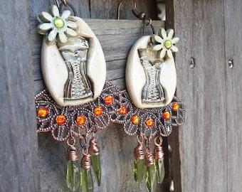 Designer - feminine - boho chic - ceramics, copper and Czech glass beads, swarovski rhinestones earrings