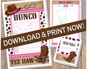 Yee Haw Western Themed Printable Bunco Cards