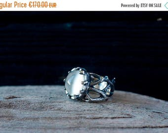 SALE 20% OFF Moonstone twig ring - Silver branch ring - Forest ring - Gothic ring - Bridal ring - OOAK ring - Promise ring - Botanical ring