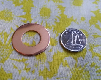 10 Polished 18g or 20g Pure Copper 1' Washer Disc Blanks