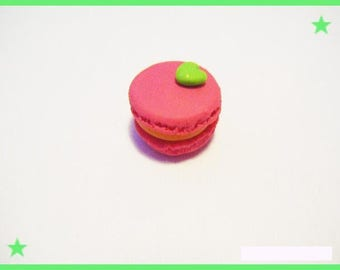 Pink 1 macaron Fimo turquoise heart cabochon