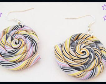 Multicolor spiral polymer clay earrings