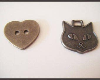 Cat charm and button heart ♥ ♥