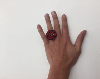 Red patchwork ring with crystals