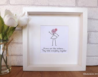 Mothers Day handmade picture - Mums are like buttons...