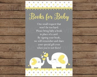 Printable Yellow and Gray Polka Dot Elephants Baby Shower Book Request, JPEG 300DPI, 4x2.5 inches for Personal Use