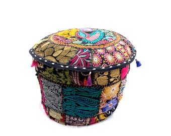 Indian Traditional Home Decorative Ottoman Handmade and Patchwork Puff Floor Cushion Size 18 X 13 Inch