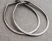 Sterling Silver Hoop Earrings. Minimalist Boho Eco. Hammered Oval Everyday Wear. Rustic Oxidised Oxidized. Handmade Jewelry Jewellery.
