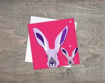 Greetings card Bright eyes Hare - Pink Hair Bunny card -Bunny card -Bright bunny card, Rabbits, Hares