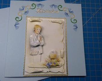 Card embroidered communion and 3D 659