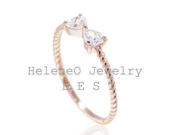 Summer SALE! 925 Sterling Silver 14K Rose gold Dainty Bow Ring 0.50 CT.TW, Us size 5, 6,7,8, Us size 9 (S76)