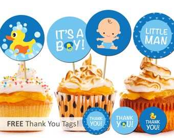 Printable Baby Boy Cupcake Topper Baby Boy Shower Party Decorations Favor Tags Rubber Duck Free Thank You Tags INSTANT DOWNLOAD