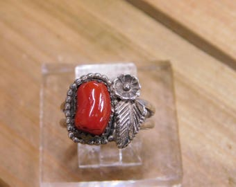 Sterling Silver Coral Ring Size 7.25