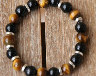 Bracelet with Tiger eye and Obsidian beads
