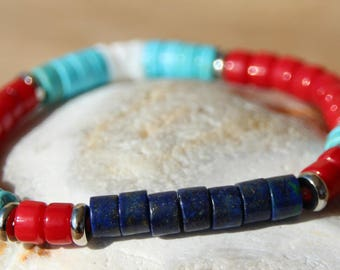 Bracelet with red coral and lapis lazuli