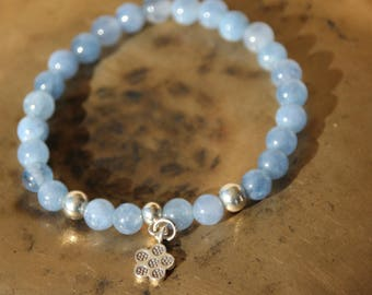 Bracelet with charm and aquamarine beads