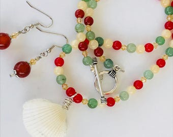 Wirewrapped Sea Shell Necklace and Earring Set, Carnelian, Aventurine and Glass Bead Necklace and Earrings, Toggle Clasp Shell Necklace