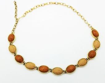 Vintage 1960's Faux Wood Bead Choker, Adjustable from 13 - 15'