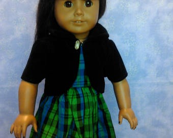Green plaid Christmas dress with black jacket for American Girl and My Generation