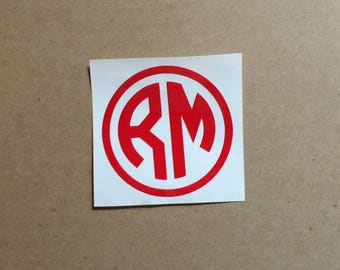 Monogram Decal | Two Initial Decal | Decal with Border | Masculine Monogram | Laptop Decal | Car Decal | Personalized Decal