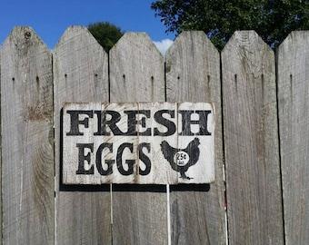 "Fresh Eggs Rustic Sign 22"" Long Farmhouse Sign Fixer Upper Magnolia Market Style"