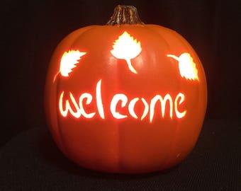 "6.5"" Orange welcome pumpkin"